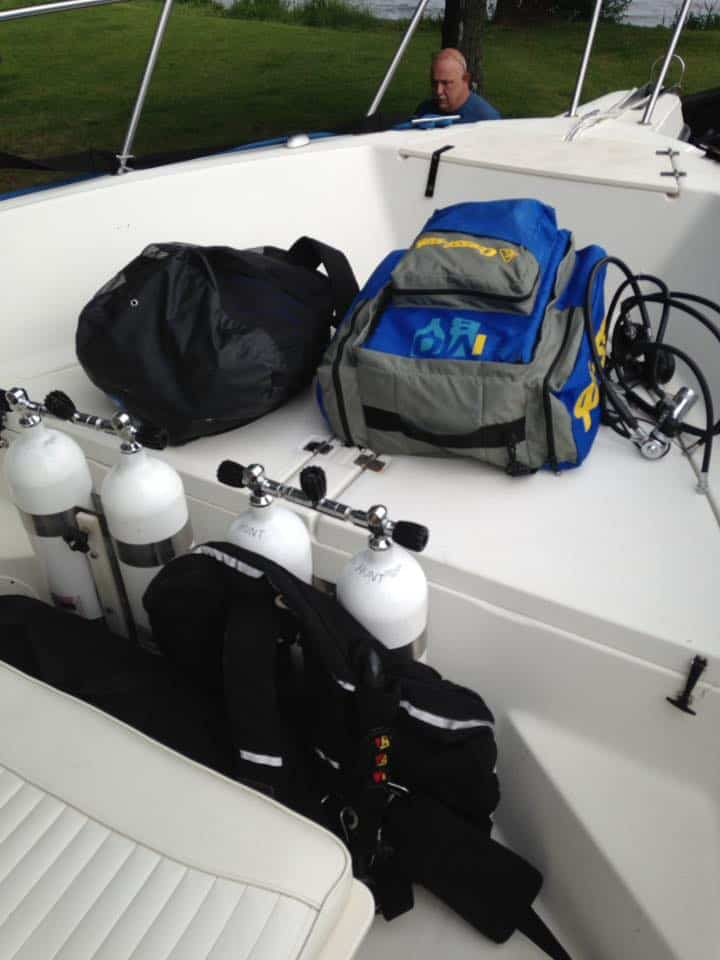 Equipment check before a dive